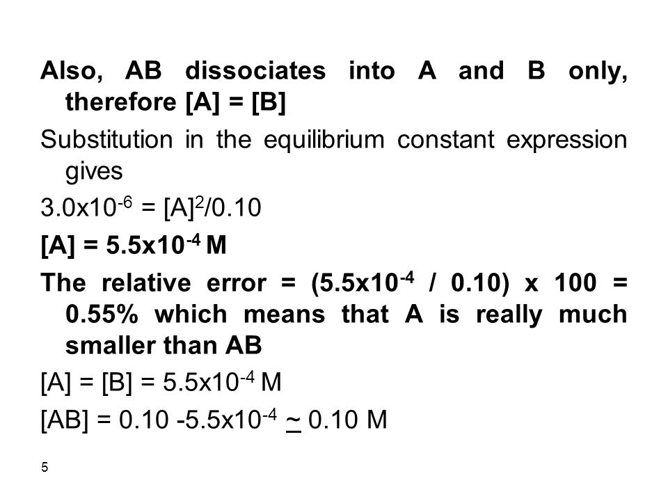 Also, AB dissociates into A and B only, therefore [A] = [B]